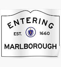 Entering Marlborough Massachusetts - Road Sign Poster