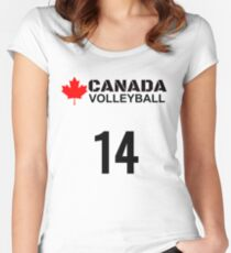 Canada Volleyball Number 14 T-shirt Design Gift Idea Women's Fitted Scoop T-Shirt