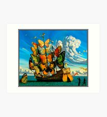 BUTTERFLY SHIP : Vintage Surreal Abstract Fantasy Print  Art Print