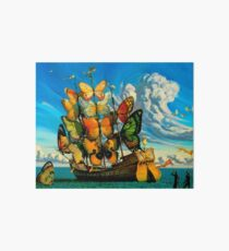 BUTTERFLY SHIP : Vintage Surreal Abstract Fantasy Print  Art Board