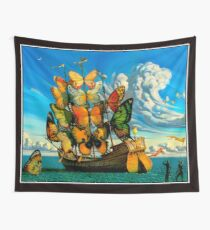 BUTTERFLY SHIP : Vintage Surreal Abstract Fantasy Print  Wall Tapestry