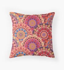 Scales pattern from pink flower mandalas Throw Pillow