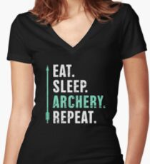 Eat. Sleep. Archery. Repeat. Women's Fitted V-Neck T-Shirt