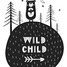 Wild child - hand drawn monochrome poster in scandinavian style. by jb-art
