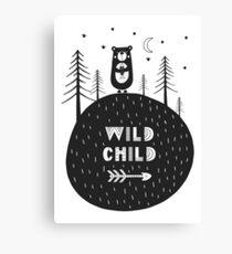 Wild child - hand drawn monochrome poster in scandinavian style. Canvas Print