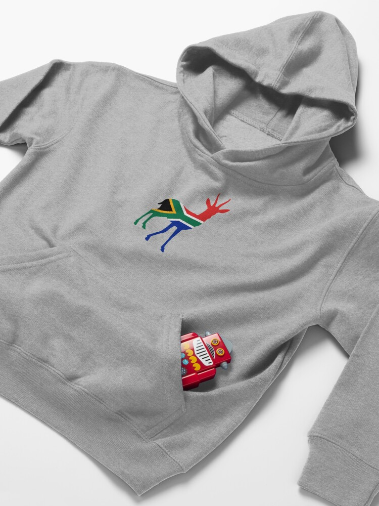 Alternate view of Flag Springbok of South Africa Kids Pullover Hoodie