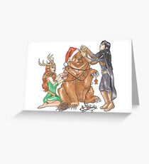 Decorating the Winters Crest Trinket Greeting Card