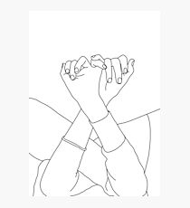 Linked fingers line drawing illustration - Aisha Photographic Print