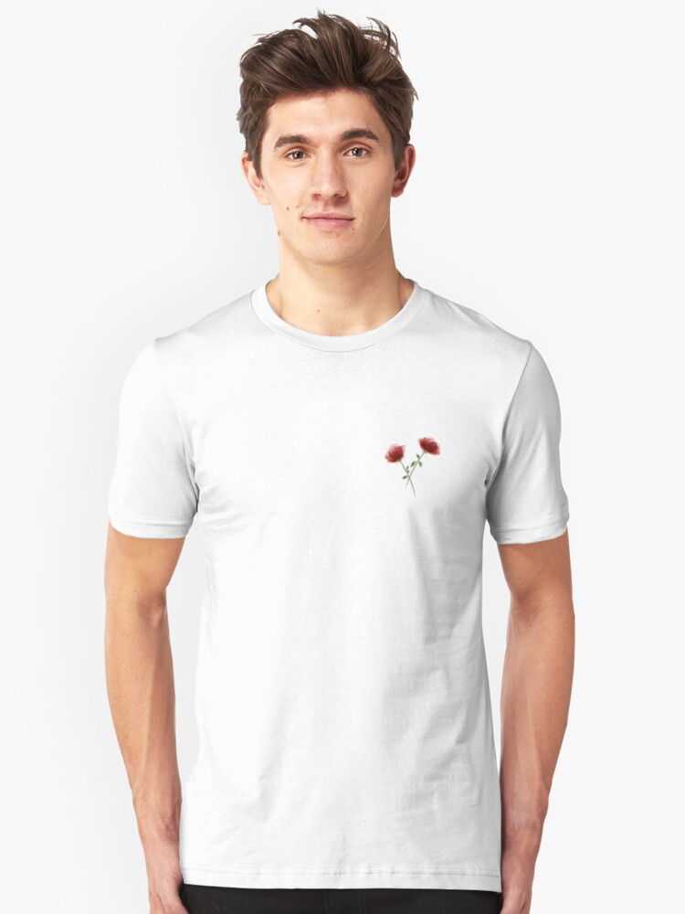 Watercolor Rose Pattern Unisex T-Shirt Front