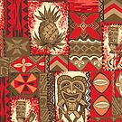Pomaika'i Tiki Hawaiian Vintage Tapa - Red & Brown by DriveIndustries