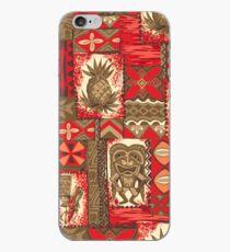 Pomaika'i Tiki Hawaiian Vintage Tapa - Red & Brown iPhone Case