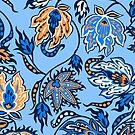 Protea Batik Hawaiian Tropical Floral - Sky Blue & Papaya by DriveIndustries
