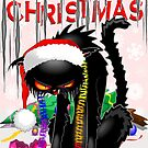 Evil Black Cat VS Christmas Tree  by BluedarkArt