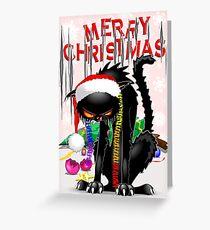 Evil Black Cat VS Christmas Tree  Greeting Card