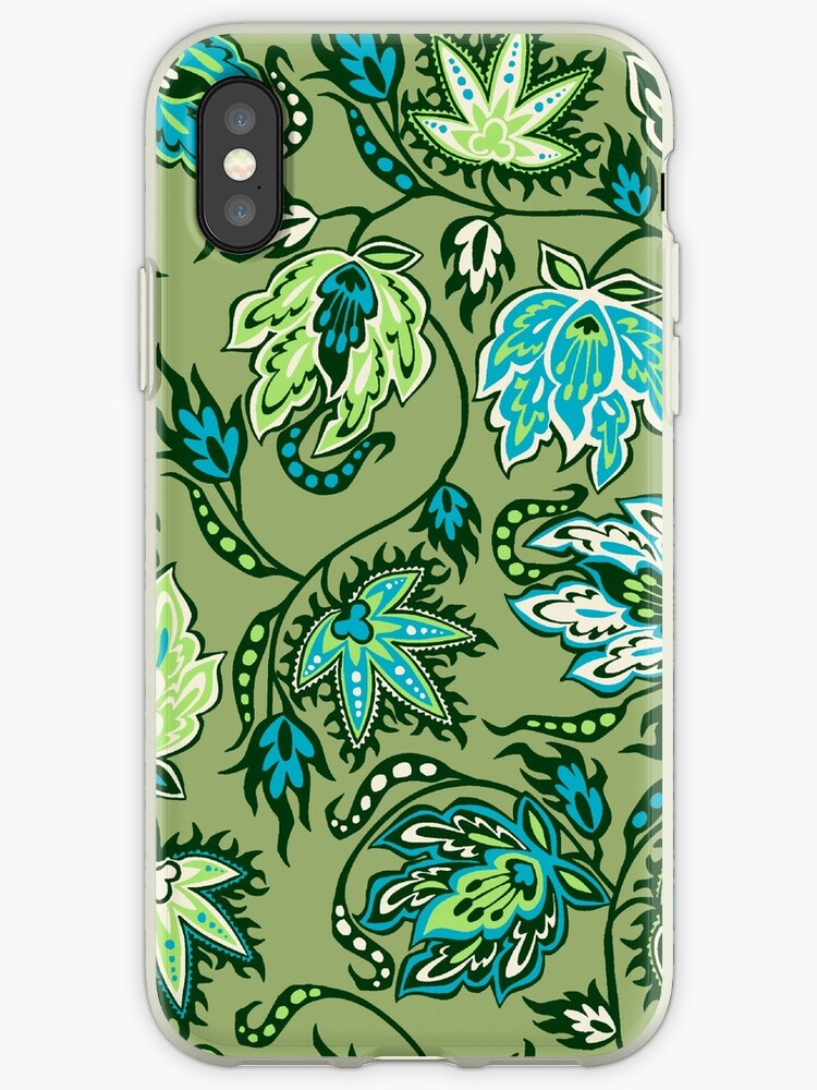 Protea Batik Hawaiian Tropical Floral - Moss, Turq & Lime by DriveIndustries