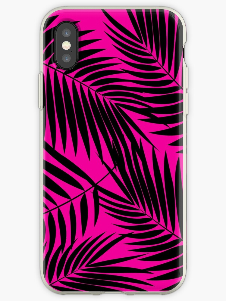 Kona Palms Hawaiian Leaf - Magenta & Black by DriveIndustries