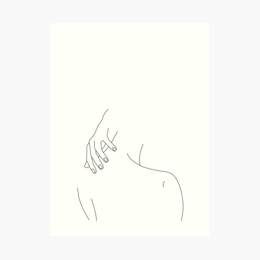 Die Rückseite und die Handillustration der Frau - Alice Kunstdruck