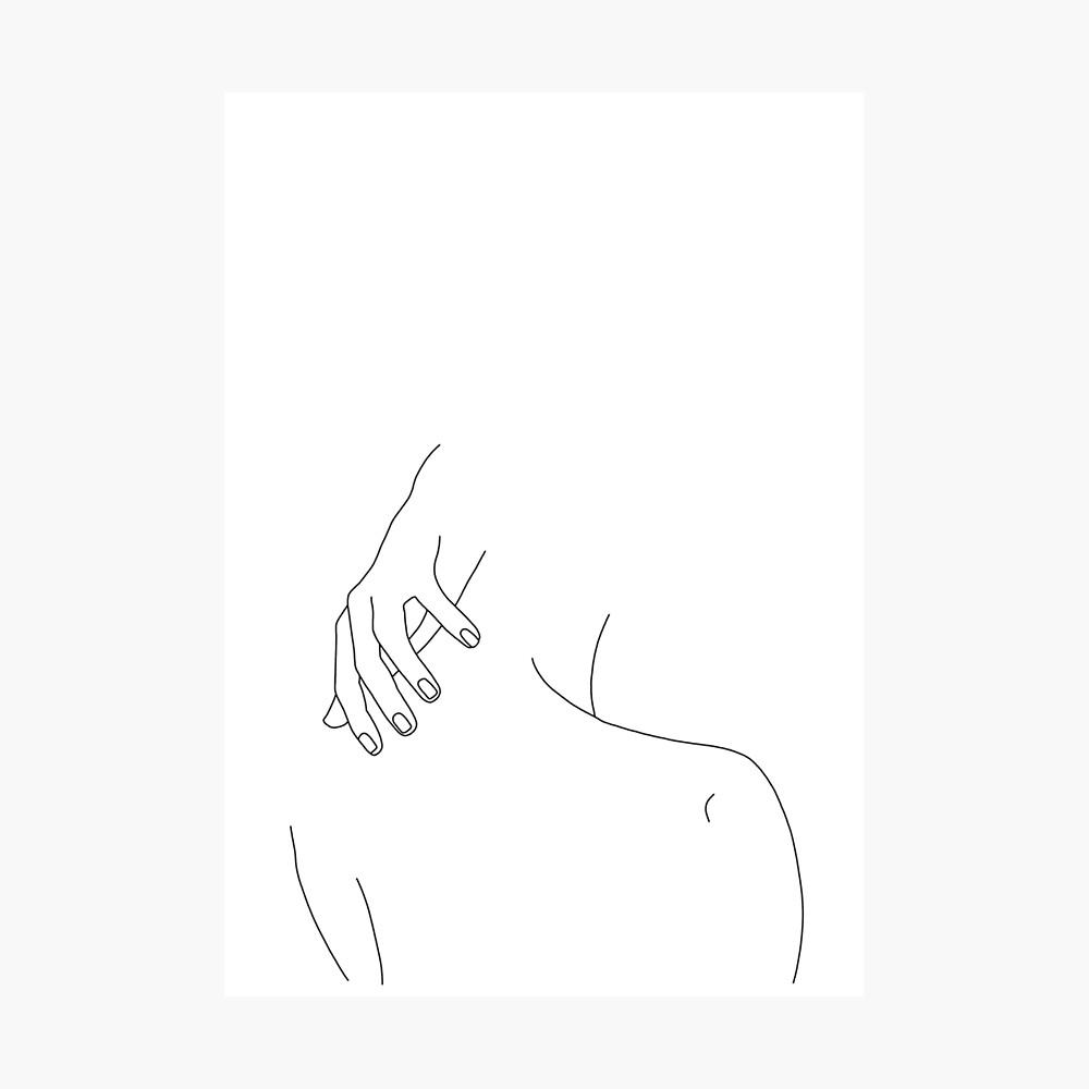 Die Rückseite und die Handillustration der Frau - Alice Fotodruck