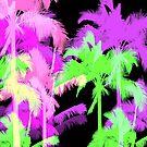 Tropical Heat Wave Neon Hawaiian Palm Trees - Black by DriveIndustries