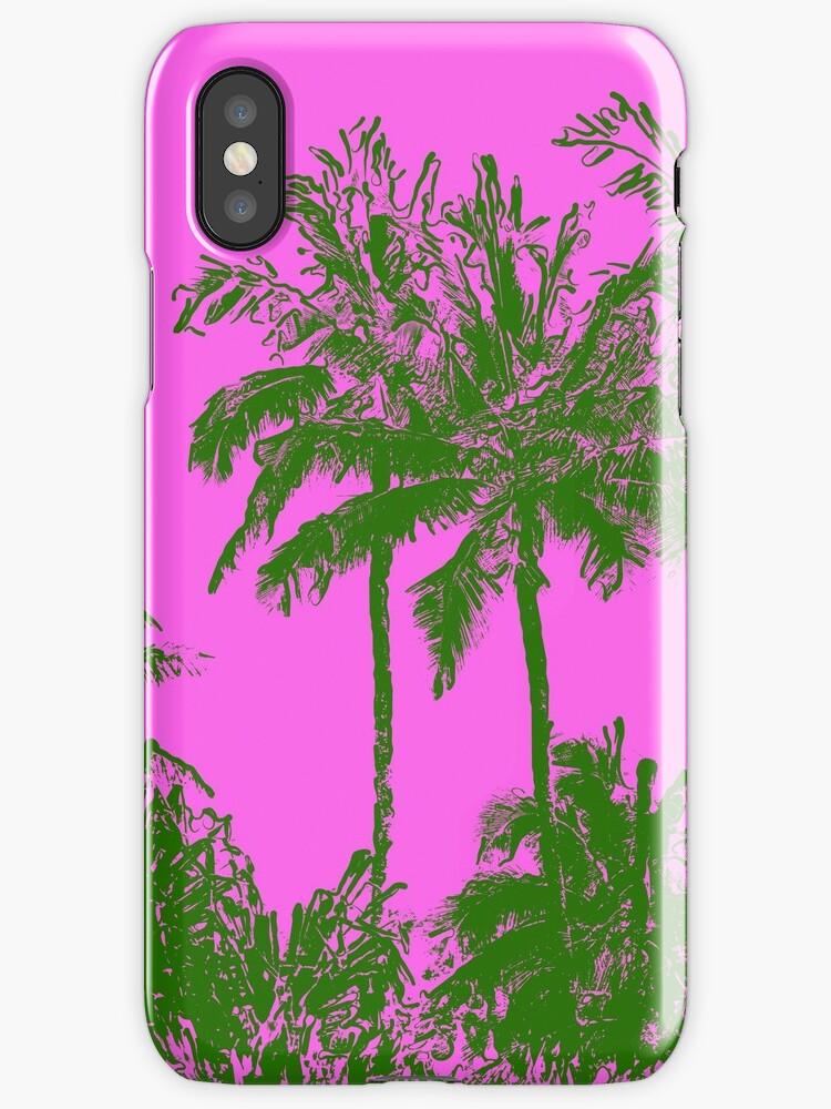 Makena Beach Hawaiian Sketchy Palms - Olive and Fuchsia  by DriveIndustries