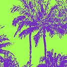 Makena Beach Hawaiian Sketchy Palms - Purple and Lime Green by DriveIndustries