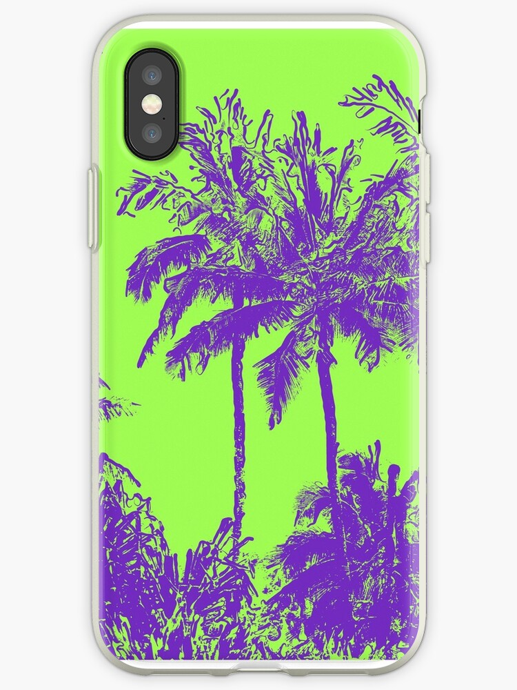 Makena Beach Hawaiian Sketchy Palms - Purple and Lime Green by DriveIndustries