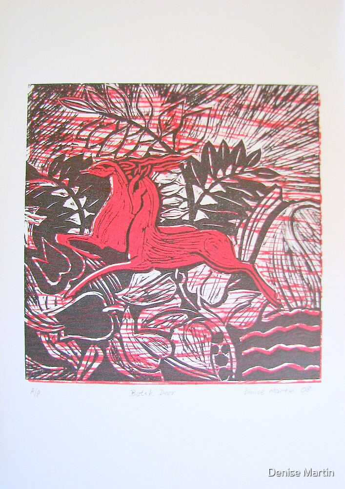 Red Deer Duo - linocut by Denise Martin