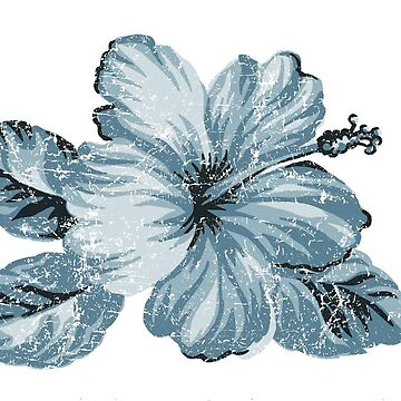 Lanai Distressed Hawaiian Hibiscus - Steel Blue by DriveIndustries