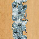 Lanai Distressed Hawaiian Hibiscus - Steel Blue by DriveIndustries