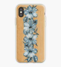 Lanai Distressed Hawaiian Hibiscus - Steel Blue iPhone Case
