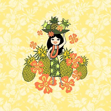 Pineapple Luau Hawaiian Hula Girl - Lemon & Papaya by DriveIndustries