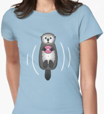 Sea Otter with Donut - Cute Otter Holding Doughnut with Little Paws Women's Fitted T-Shirt