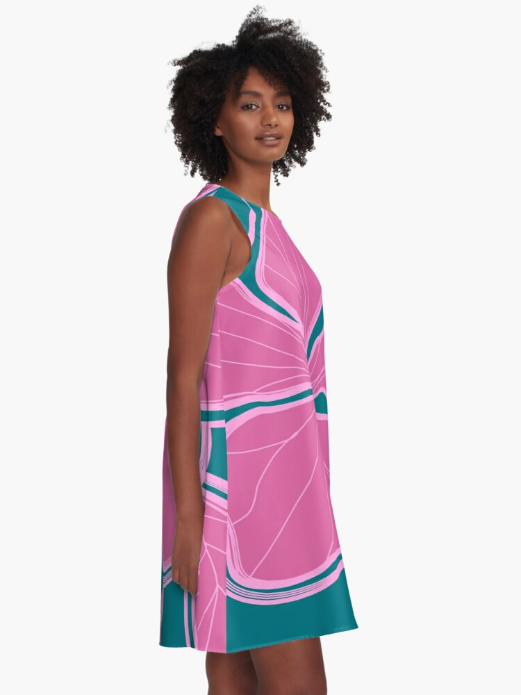 Alternate view of Kailua Hibiscus Hawaiian Engineered Floral - Pink- Teal A-Line Dress