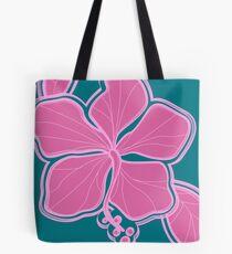 Kailua Hibiscus Hawaiian Engineered Floral - Pink- Teal Tote Bag