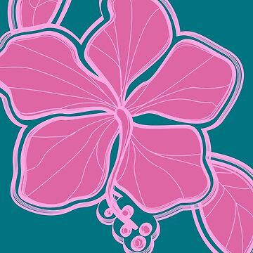 Kailua Hibiscus Hawaiian Engineered Floral - Pink- Teal by DriveIndustries