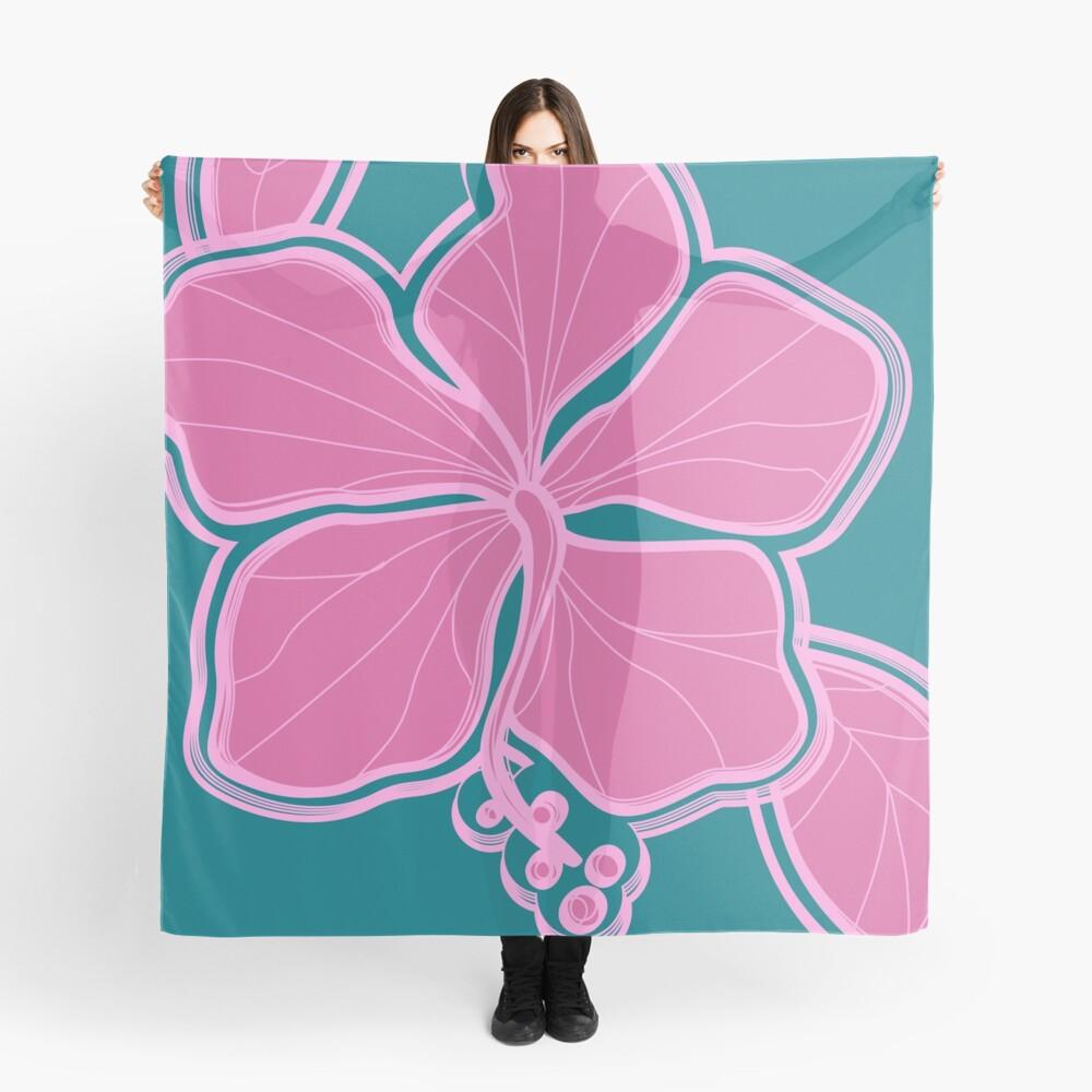 Kailua Hibiscus Hawaiian Engineered Floral - Pink- Teal Scarf