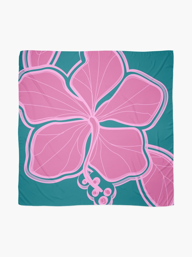 Alternate view of Kailua Hibiscus Hawaiian Engineered Floral - Pink- Teal Scarf