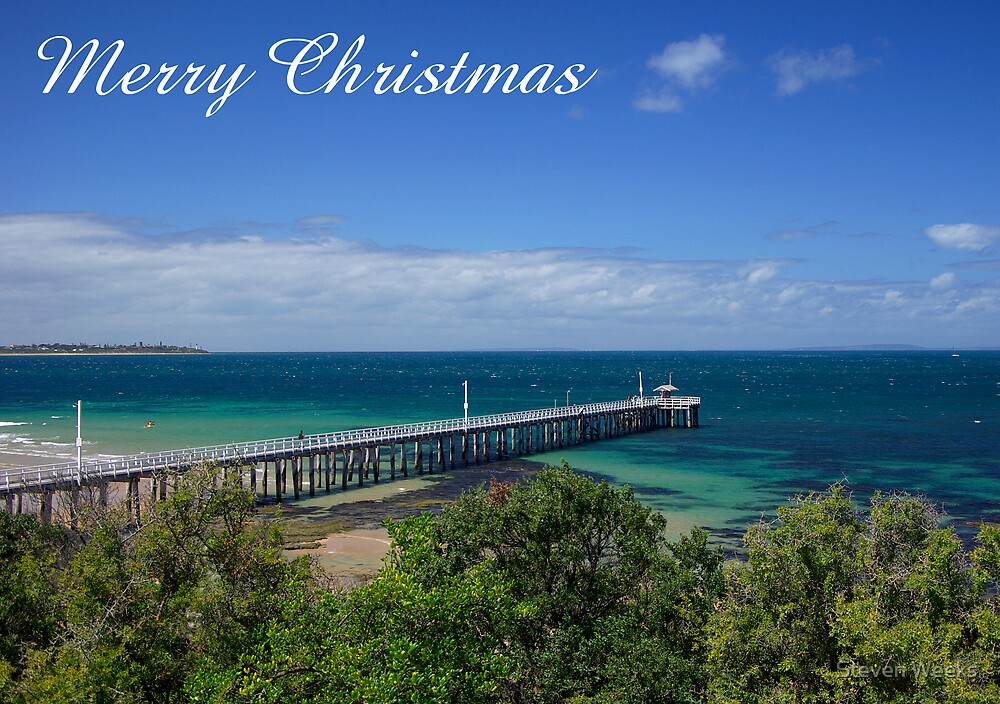 Queenscliff Pier, Merry Christmas by Steven Weeks