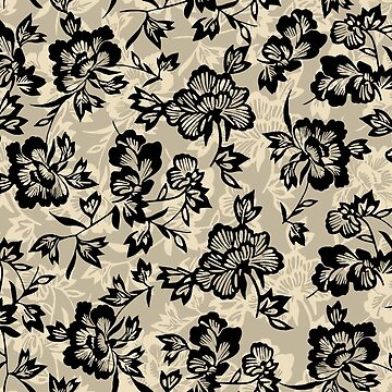 Iwalani Vintage Hawaiian Floral - Taupe, Natural and Black by DriveIndustries