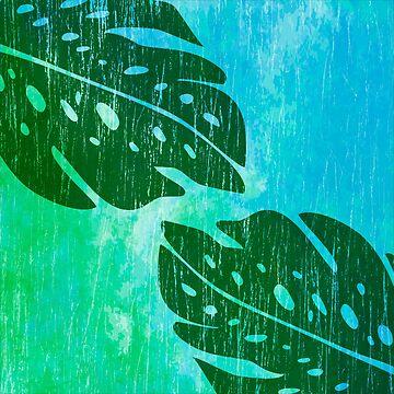 Maikai Hawaiian Monstera Leaf Tie-Dye Blend - Green & Turq by DriveIndustries