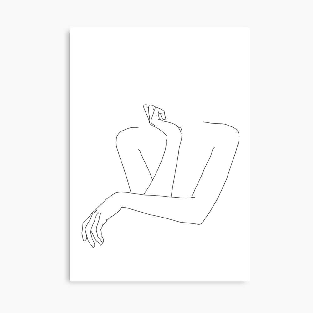 Folded arms line drawing - Anna Canvas Print