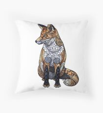 Stained Glass Fox Throw Pillow