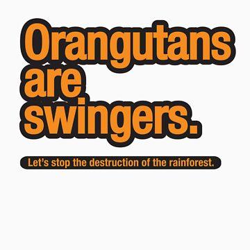 Orangutans are swingers. by trebordesign