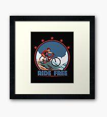 MTB Mountain Biking Vintage Design RIDE FREE Framed Print