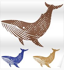 Grunge Whale Poster