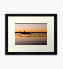 Pink And Gold Sunset Over Water Framed Print