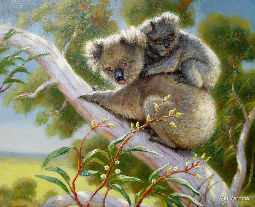 Koala with baby by Val Varetsa