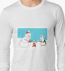 A snowman and a penguin roasting marshmallows.  T-Shirt