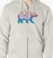 Wunderlust Rainbow Bear with Mountains Landscape and Trees Zipped Hoodie