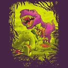 Bloody Extinction of Purple T Rex Dinosaur by MudgeStudios